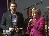 David Garrett und Angela Merkel auf der Bühne der CDU Medianight 2013