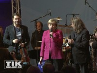 David Garrett, Leslie Mandoki und Angela Merkel auf der Bühne der CDU Medianight 2013