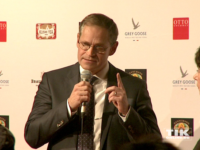 Berlins Regierender Bürgermeister Michael Müller auf der Medienboard-Weihnachts-Party 2015 in Berlin