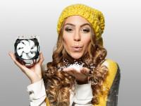 Miss Ronja ganz winterlich bei einem Kalender-Shooting für einen Elektronik-Konzern
