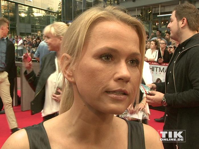 "Nova Meierhenrich bei der Premiere des Action-Spektakels ""Hitman: Agent 47"" in Berlin."