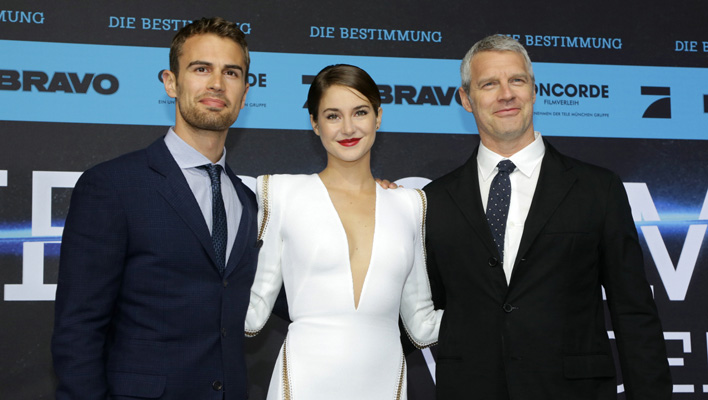 Theo James, Shailene Woodley und Regisseur Neil Burger (Foto: 2014 Concorde Filmverleih GmbH)