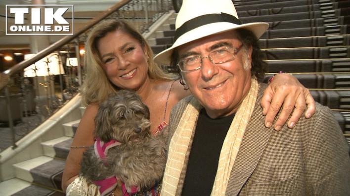 Romina Power mit Hündchen Daisy und Albano Carrisi