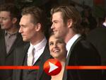 Natalie Portman, Chris Hemsworth und Tom Hiddleston im Berliner Blitzlichtgewitter