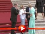 Charlène und Albert von Monaco werden von Joachim Gauck und Daniela Schadt im Schloss Bellevue begrüßt