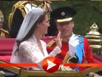 Kate und William in der Hochzeitskutsche