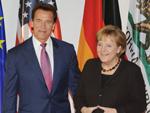 Arnold Schwarzenegger: Sorgt für gute Laune bei Angela Merkel