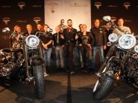 Harald Glööckler bei der Präsentation seiner umdesignten Harleys